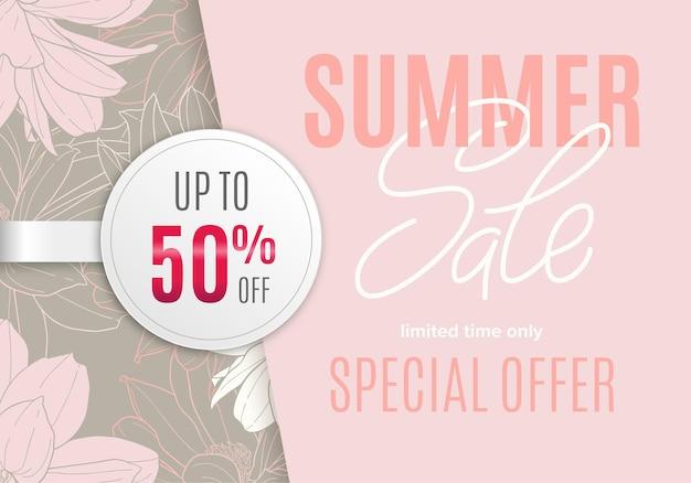 Sale-sommerbanner mit blumen-tintenskizze und weißem rundem aufkleber 50 prozent rabatt