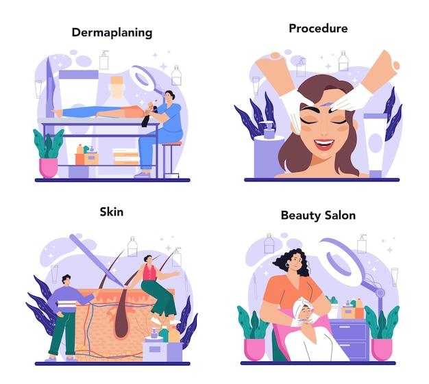 Salon dermaplaning verfahren set kosmetik gesichtsrasur verfahren