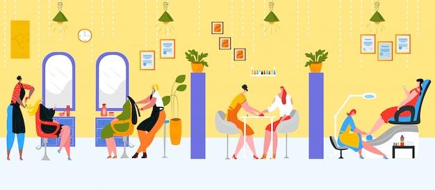Salon für schönheitsbehandlung, illustration. business-stil interieur für frauen, kosmetik, spa und friseur haar-service, maniküre. fashion lifestyle arbeit, stylist kümmert sich um frau.