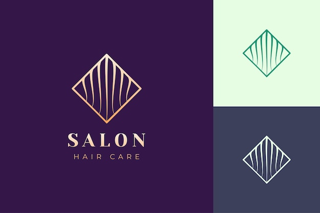 Salon-logo-vorlage mit einfacher und luxuriöser haarform