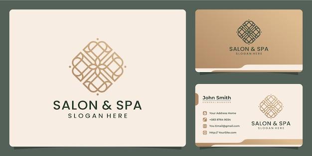 Salon- und spa-luxus-monoline-logo-design und visitenkarte
