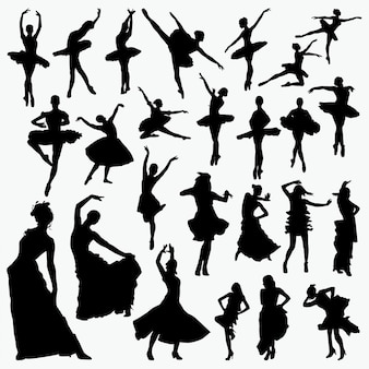 Salsa-balletttänzer-silhouetten
