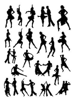 Salsa-tänzer-silhouette