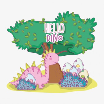Saltasaurus dino mit süßem ei in den büschen