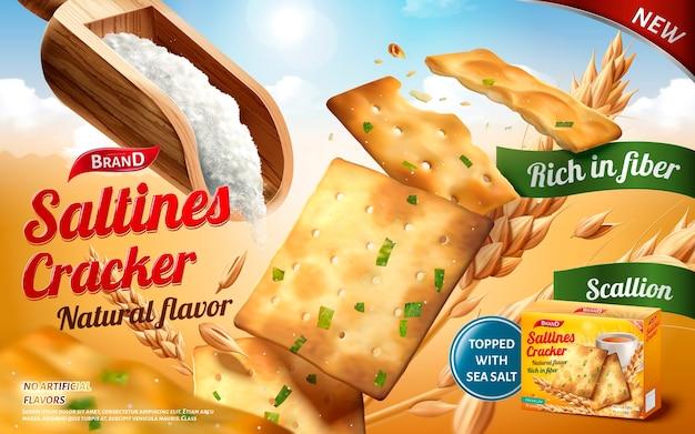 Saltines cracker-anzeigen, leckere saltines im salz- und frühlingszwiebelgeschmack mit einer kugel salz, die auf hintergrund im freien isoliert wird