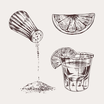 Salz und ein schuss tequila und limette