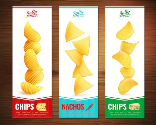 Salzige chips vertikale banner