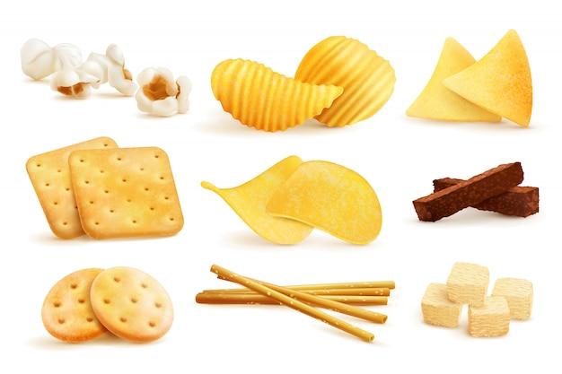 Salzige snack stücke set