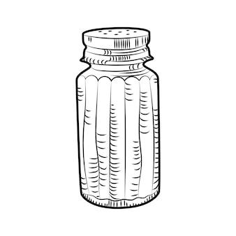 Salzstreuer isoliert auf weißem hintergrund. chen zutat. lebensmittelgewürz-vektorillustration