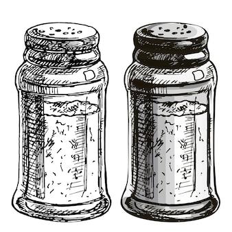Salzstreuer. vektorfarbe und einfarbige vintage-schraffurillustration lokalisiert auf einem weißen hintergrund.