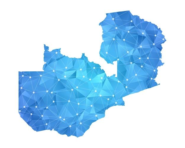 Sambia-kartenlinie punktet polygonale abstrakte geometrische.