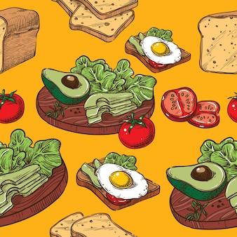 Samless sketch toast mit ei und avocado
