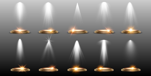 Sammeleffekte der szenenbeleuchtung helle beleuchtung mit scheinwerfern