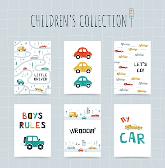 Sammeln sie kinderplakate mit autos, straßenkarte und beschriftung im karikaturstil. nette illustrationen für kinderzimmergestaltung