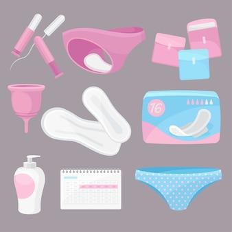 Sammeln sie tägliche hygieneprodukte. illustration.