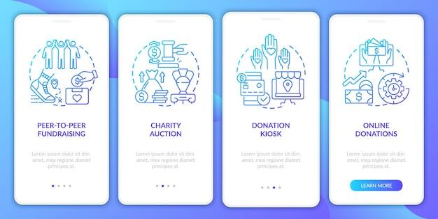 Sammeln von geldereignisideen beim onboarding des bildschirms der mobilen app-seite. anleitung für online-spenden in 4 schritten mit grafischen anweisungen und konzepten. ui-, ux-, gui-vektorvorlage mit linearen farbillustrationen