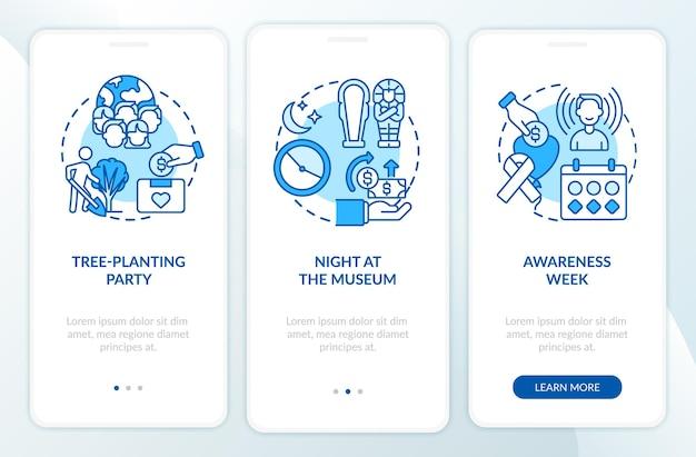 Sammeln von ideen für geldkampagnen beim onboarding des bildschirms der mobilen app-seite. nacht im museum walkthrough 3 schritte grafische anweisungen mit konzepten. ui-, ux-, gui-vektorvorlage mit linearen farbillustrationen