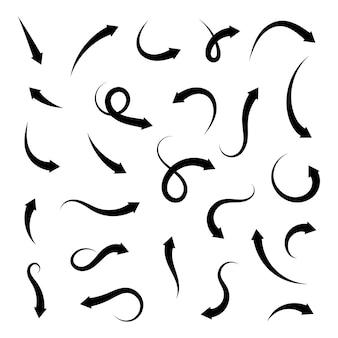 Sammelpfeile isoliert. verschiedene gekrümmte pfeile symbolsatz