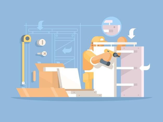 Sammler von möbeln. der mensch sammelt neue holzregale. illustration