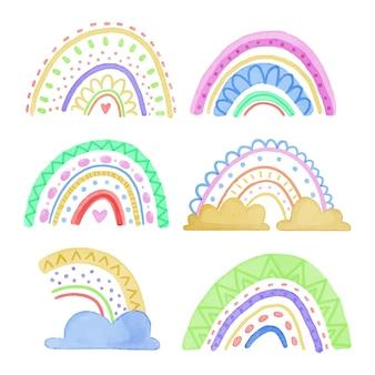 Sammlung abstrakter bunter regenbogen mit wolken