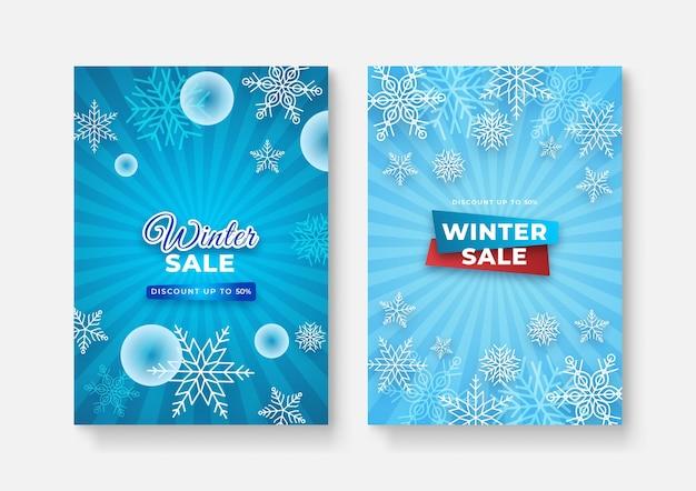 Sammlung abstrakter hintergrunddesigns, winterschlussverkauf, werbeinhalte für soziale medien. vektor-illustration