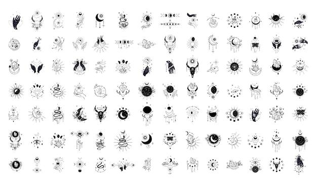 Sammlung abstrakter magischer illustrationen