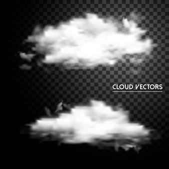 Sammlung abstrakter wolkenelemente über transparentem hintergrund