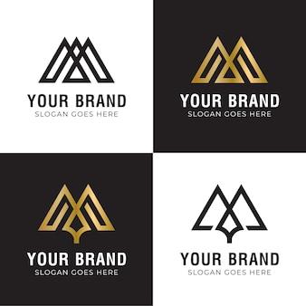 Sammlung abstraktes monogramm-logo mit buchstabe m anfangssymbol