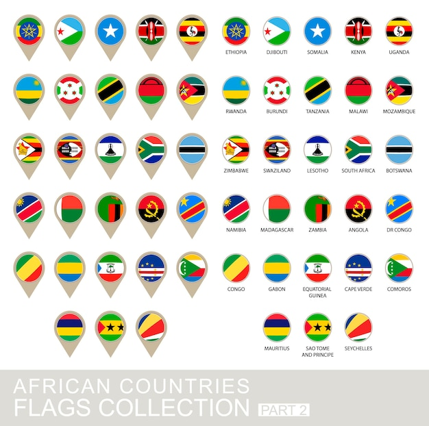 Sammlung afrikanischer länderflaggen, teil 2, 2 version