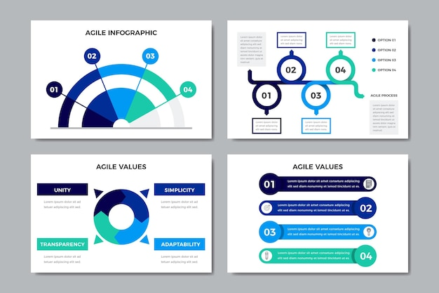 Sammlung agiler grafiken mit wichtigen informationen