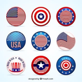 Sammlung amerikanischer abzeichen
