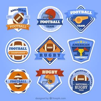 Sammlung amerikanischer fußball-insignien im vintage-stil