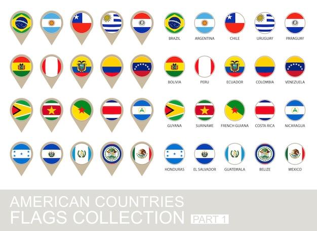 Sammlung amerikanischer länderflaggen, teil 1, version 2