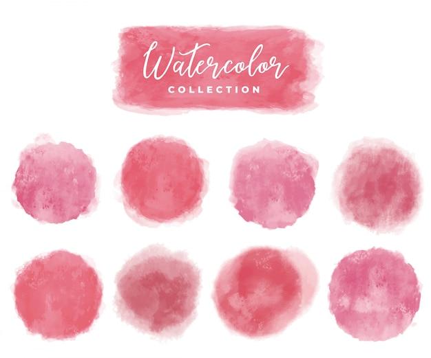 Sammlung aquarellelemente rot und rosa