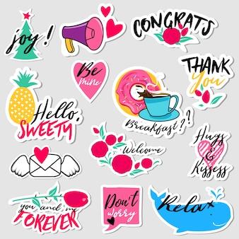 Sammlung aufkleber des flachen designs des sozialen netzes