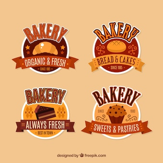 Sammlung bäckereiaufkleber in der flachen art