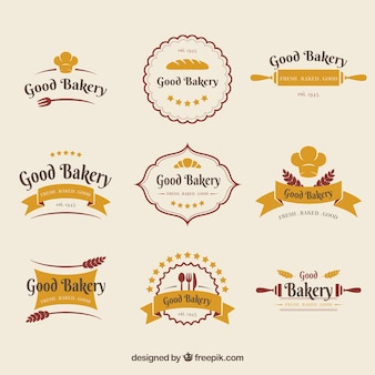 Sammlung bäckereilogos in der flachen art