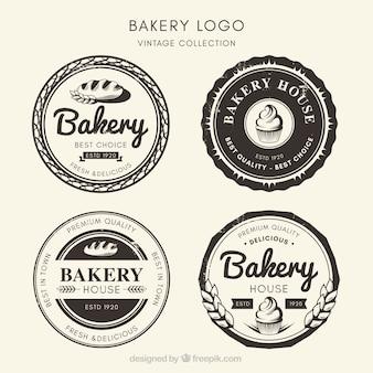 Sammlung bäckereilogos in der weinleseart