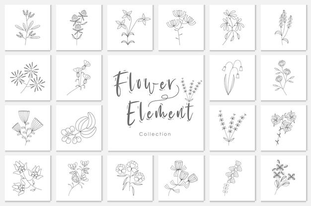 Sammlung blumentopfelement lineart illustration, pflanze, blumen, gekritzel, hand gezeichnet.
