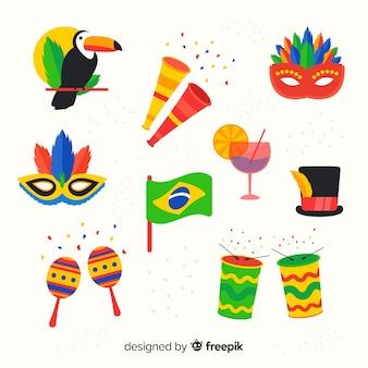 Sammlung brasilianischer karnevalelemente
