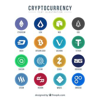 Sammlung bunte cryptocurrency münzen