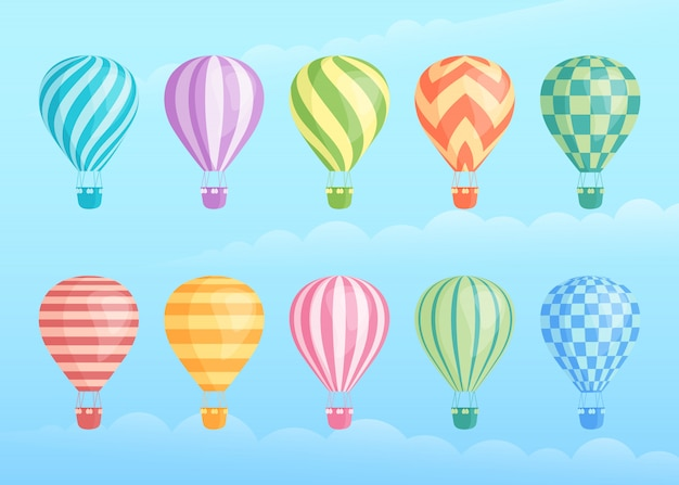 Sammlung bunte heißluftballone