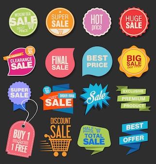 Sammlung bunte moderne abzeichen und aufkleber