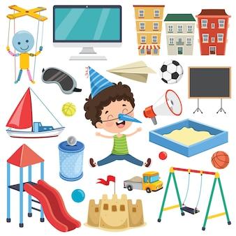 Sammlung bunte spielwaren und gegenstände