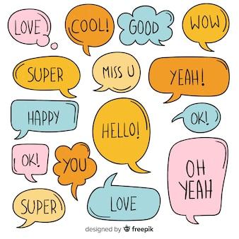 Sammlung bunte spracheblasen mit verschiedenen ausdrücken