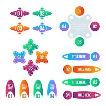 Sammlung bunter farbverlaufs-infografikelemente