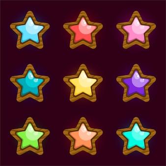 Sammlung buntes medaillendesign für spiel, ui, banner, design für app, schnittstelle, spieleentwicklung.
