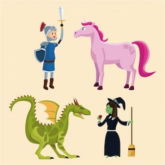 Sammlung charaktere märchen fantasie kind