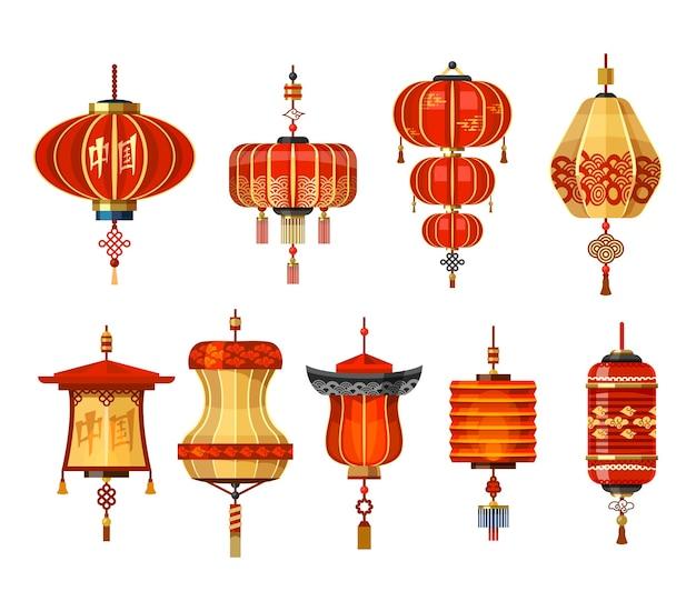 Sammlung chinesischer laternenlampen