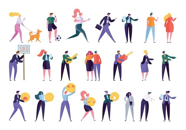 Sammlung creative various lifestyle character. stellen sie die menge der leute ein, die aktivität ausführen - gehender hund, sport treiben, arbeit suchen, geschäfte machen, familie aufbauen. flache karikatur-vektor-illustration